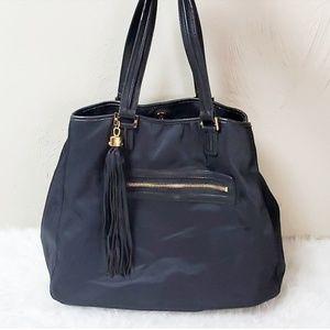 Tory Burch black nylon leather tote shoulder bag